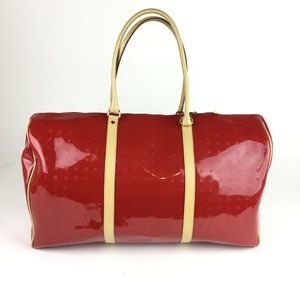 ARCADIA Red Patent Leather Duffle Bag Weekender